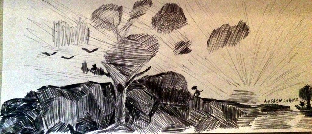 pen landscape doodle by Geekdude