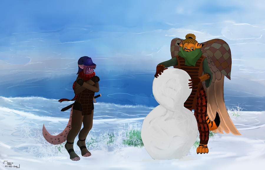 Yv and Mao  Building a snowman! by Gamal-the-rookie