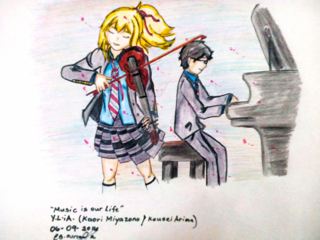 Music is our LIFE (Kaori Miyazono/Kousei Arima) by saberlily29