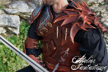 Dragon hunter Dovahkiin leather armor by AtelierFantastique