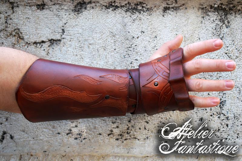 Alberic fingerless leather gauntlet by AtelierFantastique ...