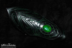 Dark gemstone leather bracer by AtelierFantastique