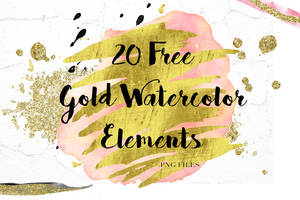 20 Free Gold Watercolor Elements by toxiclolley88