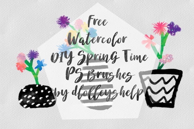 Free Watercolor DIY Spring Time Photoshop Brushes by