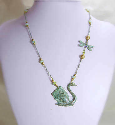 Swan and Dragonfly Verdigris
