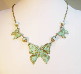 Art Nouveau Butterfly Statement Necklace by JinxMim
