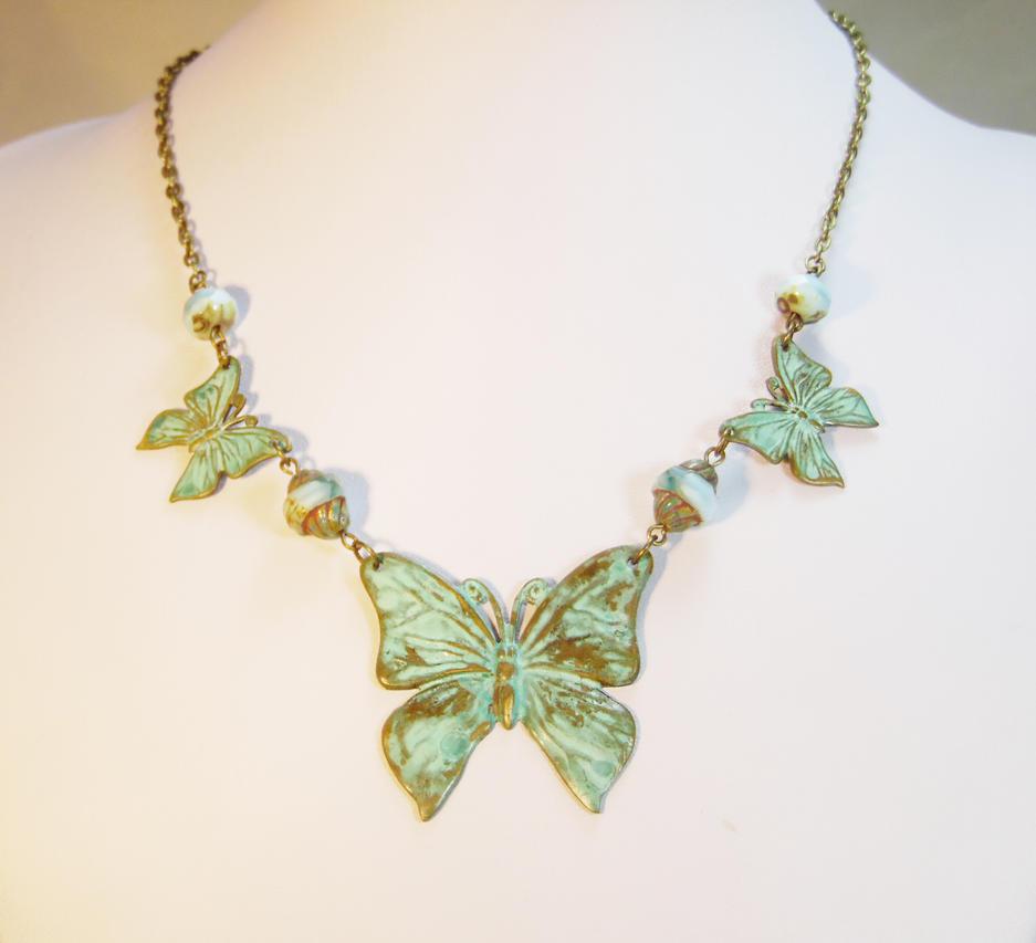 Art Nouveau Butterfly Statement Necklace by JinxMim