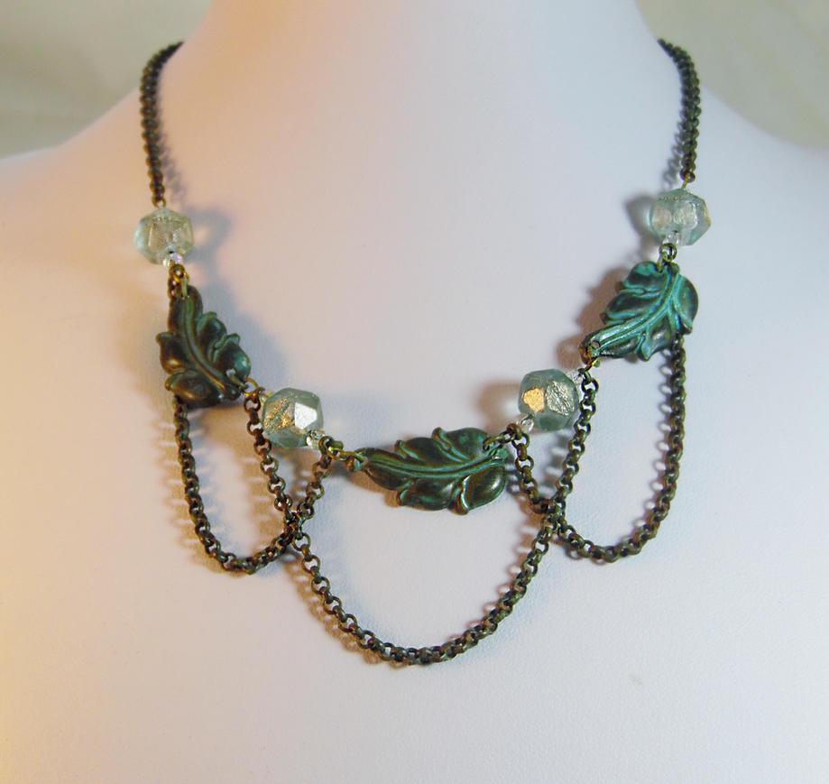 Art Nouveau Leaf Necklace by JinxMim