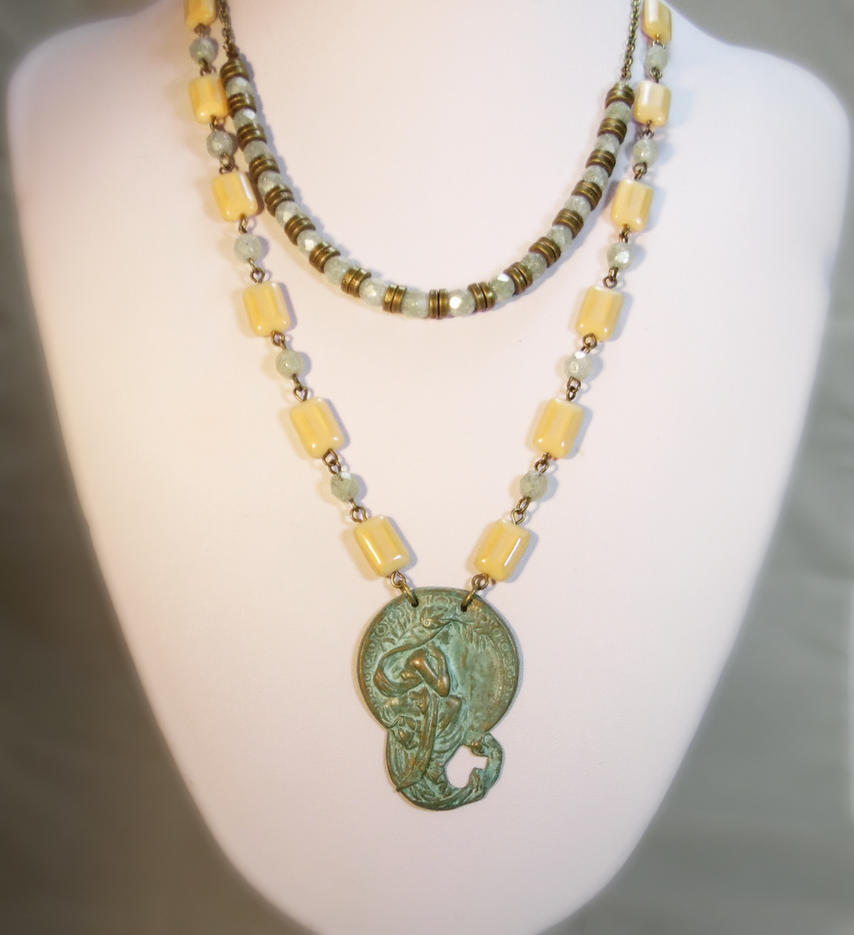 Alphonse Mucha Pendant Necklace by JinxMim
