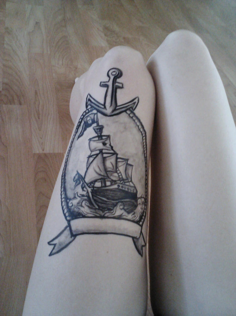 Pirate Ship leg tattoo by starbuxx