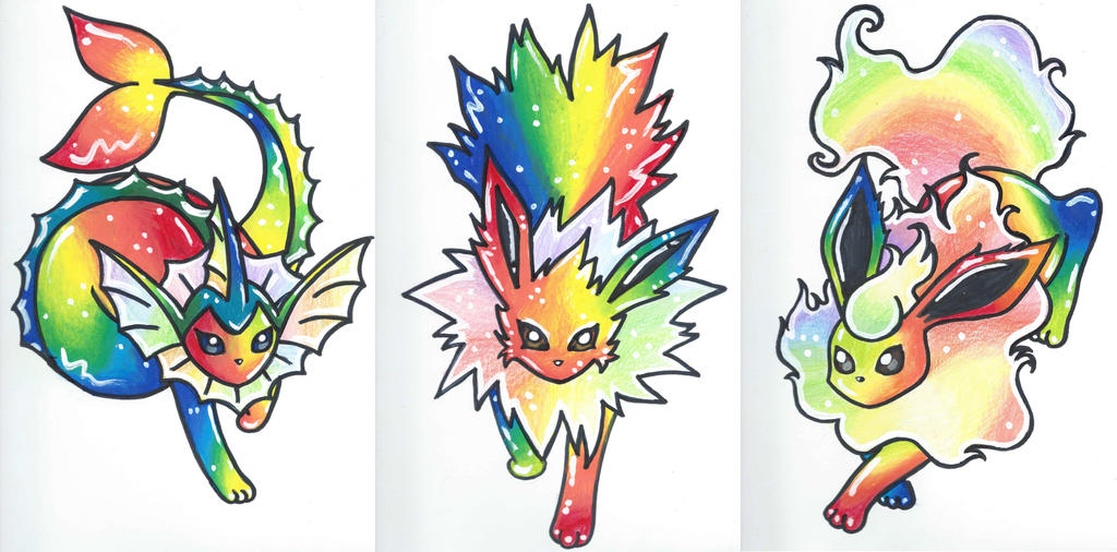 Rainbow Eeveelutions by starbuxx