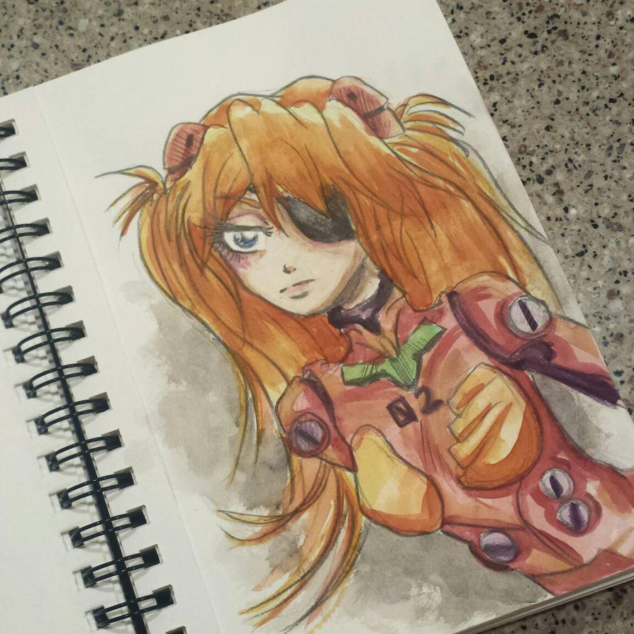 Asuka Watercolor Sketch  by starbuxx