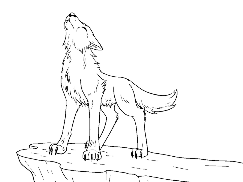 Free Howling Wolf Lineart by Howling Wolf Lineart