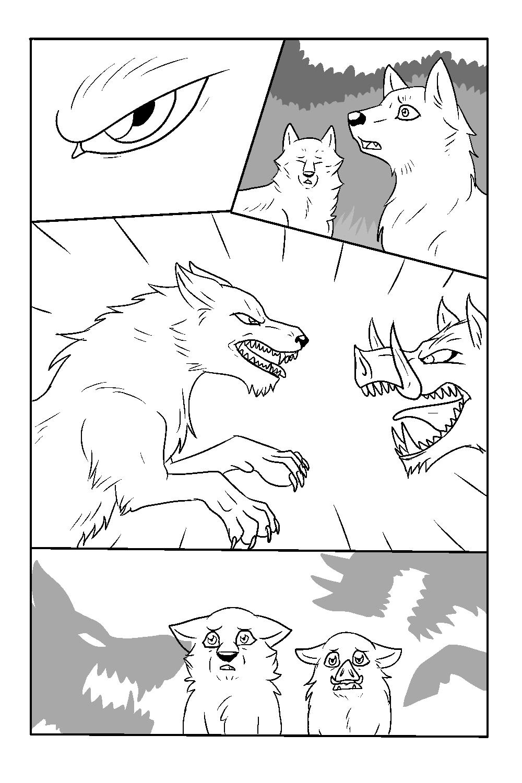 Line Art Comic : Wolf vs boar comic test free lineart by the crow