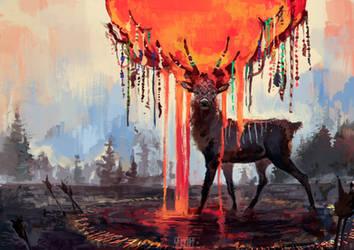 Deer shaman by Sapfira-Dragon