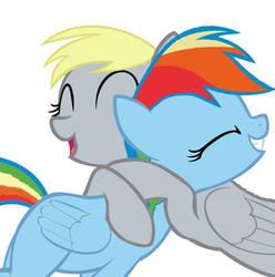 Derpy Hugs Rainbow Dash