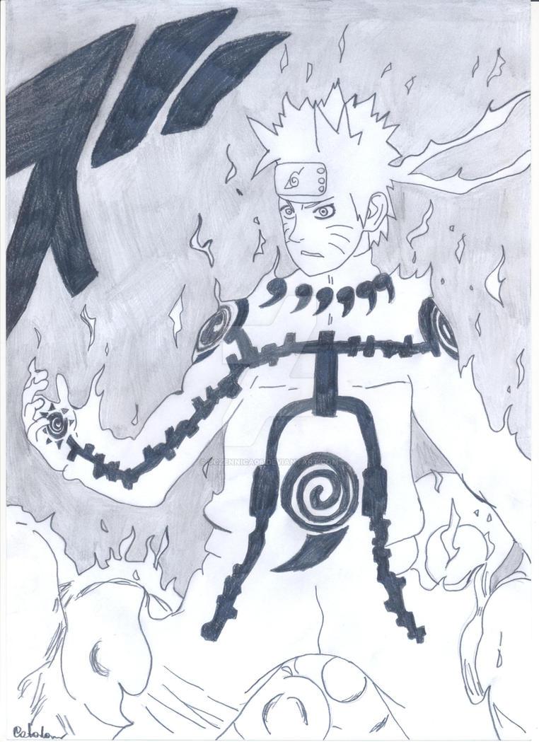 Naruto Kyuubi Chakra Mode by uczennica06