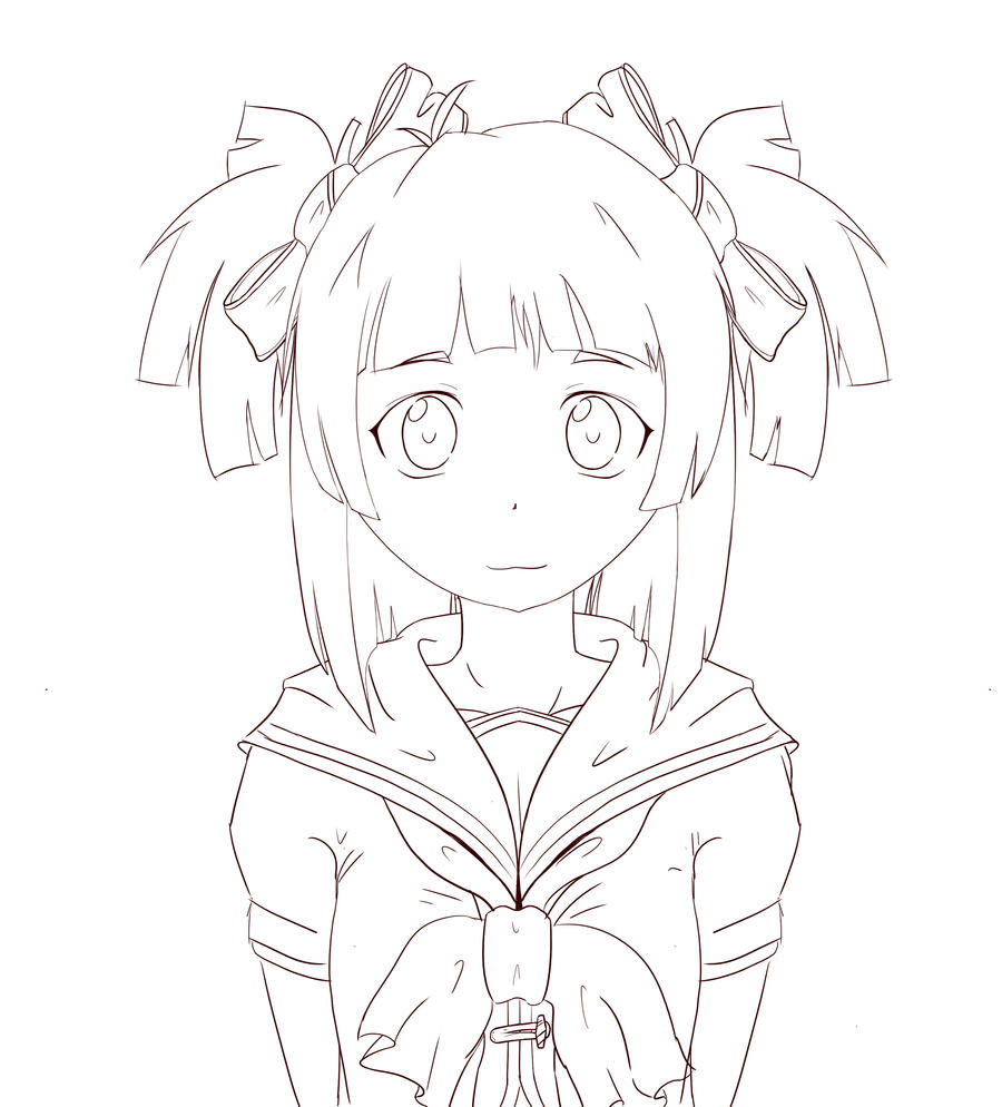 Line Drawing School : School girl line art by vicse on deviantart