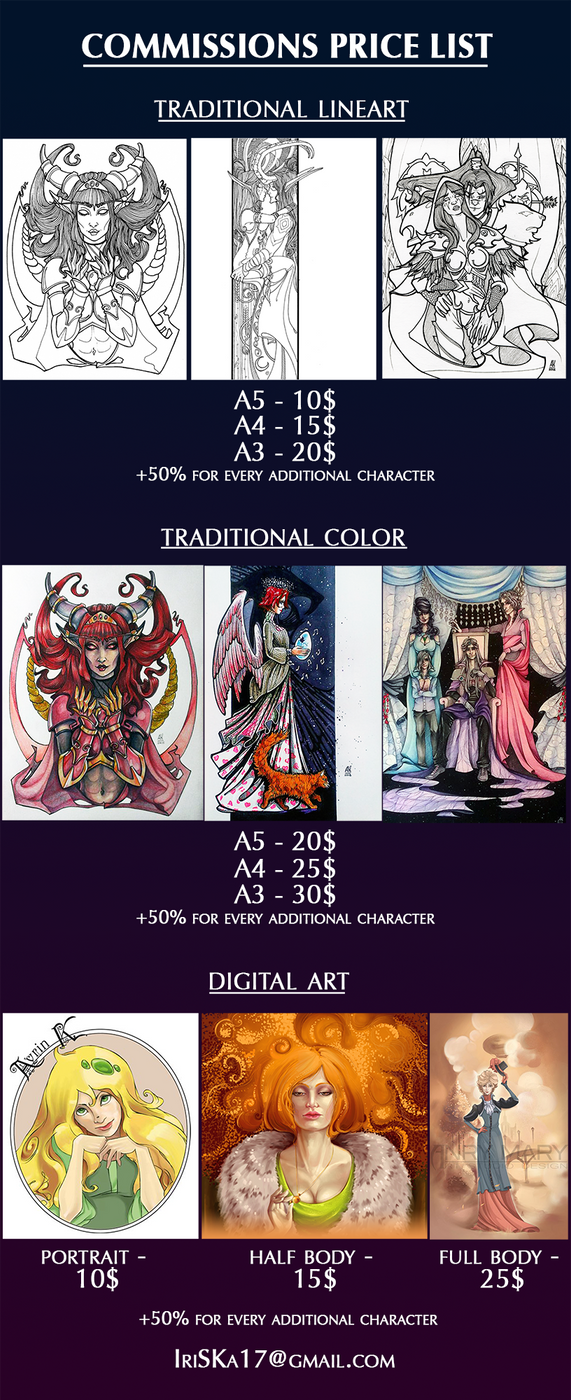 Commissions price list (OPEN) by AyrinKey