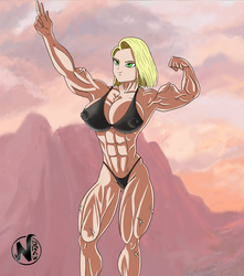 MuscleGirl  (Android18-Fanart ) OPEN COMMISSION! by NadoArts