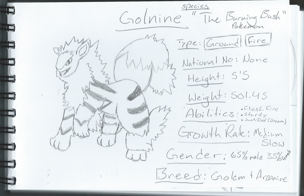 Golnine The Burning Bush Pokemon by CrypticCharmander