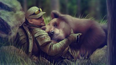 Hugging Bear by Katarina-Venom
