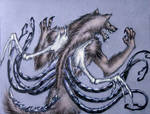 werewolf with mental tentacles and bone wings
