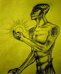 reptilian with energy ball