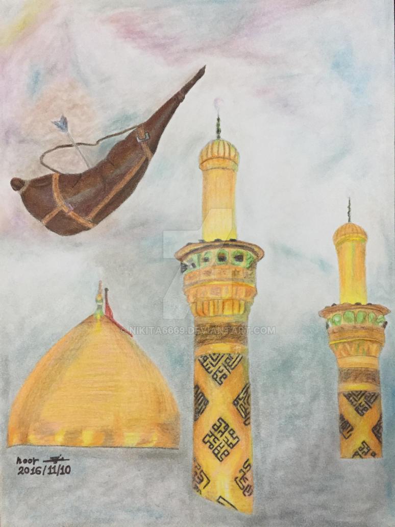 Drawing the shrine of Imam Abbas by nikita6669