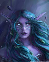 Night Elf Portrait Commission by x-Celebril-x