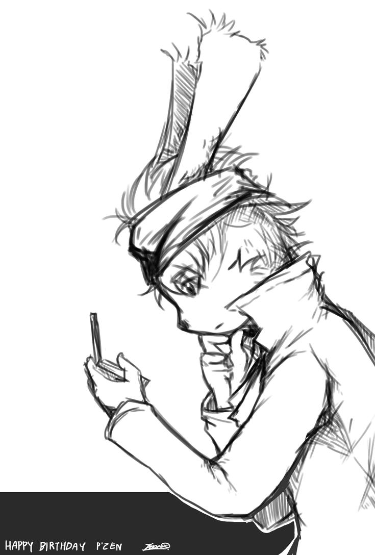 White rabbit with 3DS by l3o0Mz
