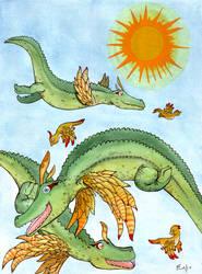 Croc In Flight by frowzivitch