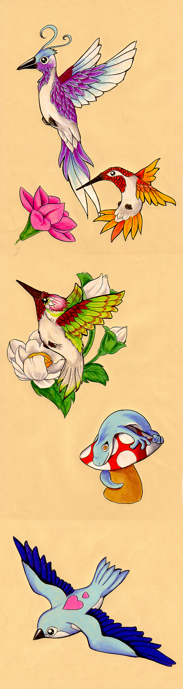 Some Birds and a Lizard by frowzivitch