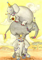 Wild Circus Elephants by frowzivitch