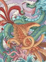 Dragon Bird Squid by frowzivitch