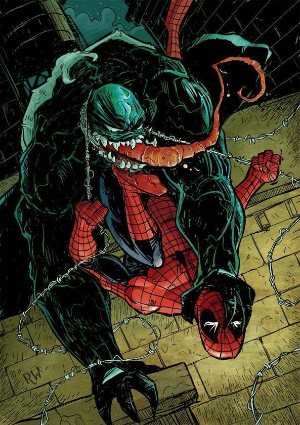 Spider Man and Venom by bustrucket