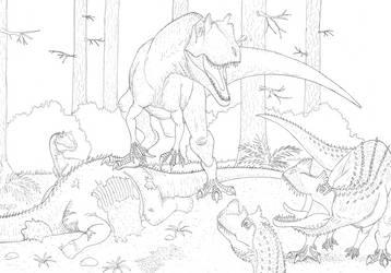 Allosaurus vs Ceratosaurs by Aesirr