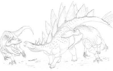 Allosaurs attacking a Stegosaur by Aesirr