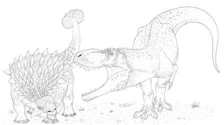 Tyrannosaurus Rex attacking an Ankylosaurus by Aesirr