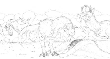 Carnotaurus and Giganotosaurus by Aesirr