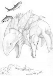 Pliosaurus and Leedsichthys by Aesirr