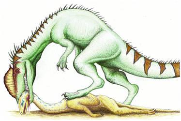 Dilophosaurus by Aesirr