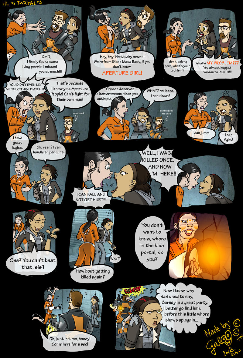 Chell meets Gordon and Alyx by GalooGameLady