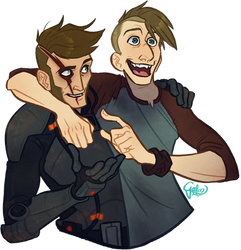 Commission: Guys being dudes by GalooGameLady