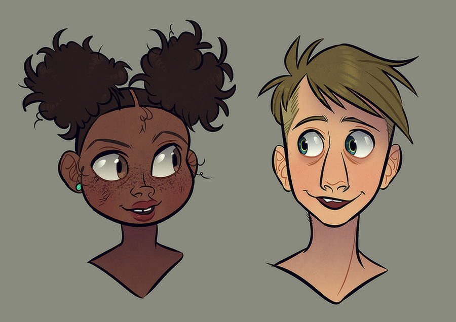 Meg + Buttons as kids by GalooGameLady