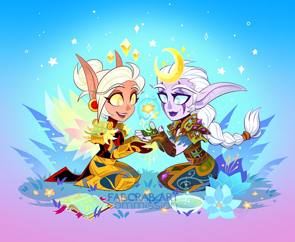 commission - chibi Celdori and Elera