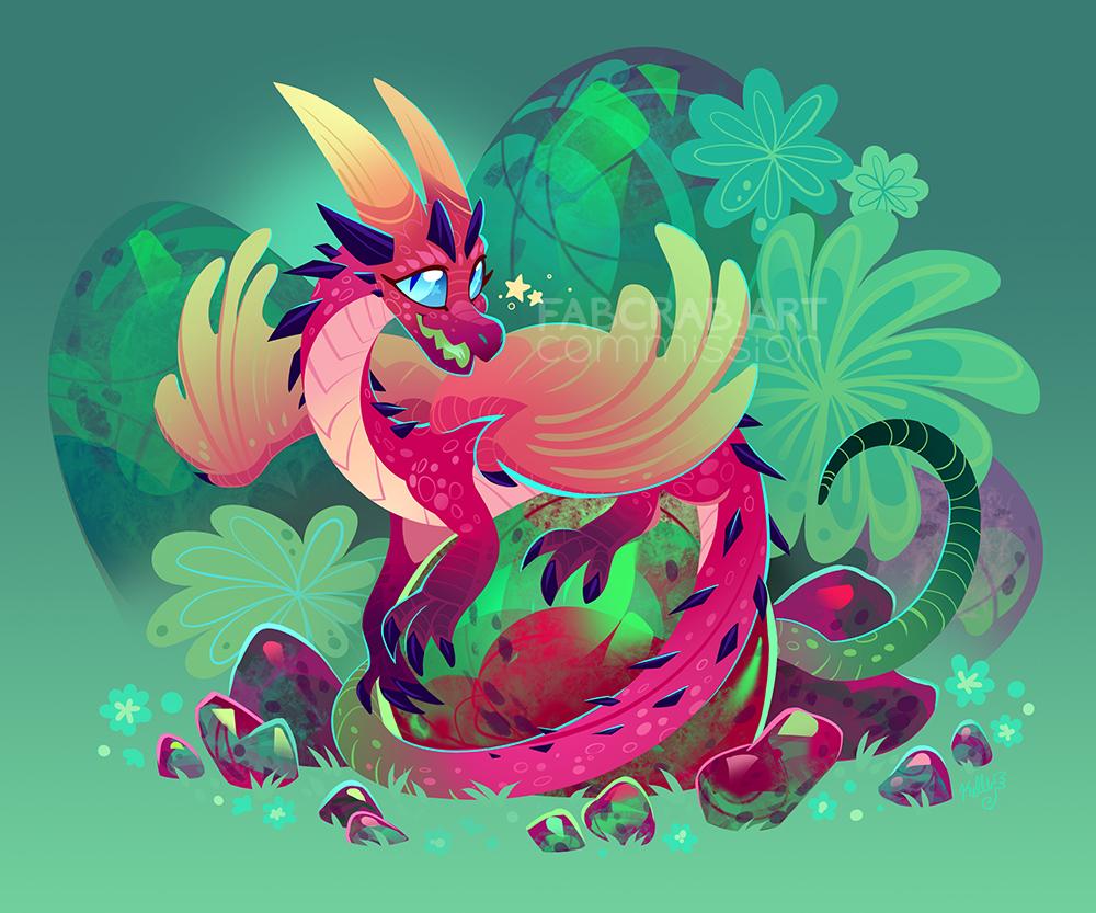 commission - chibi gem dragon