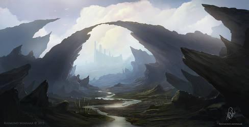 Rocky landscape painting