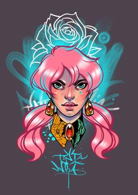 Pink heair girl