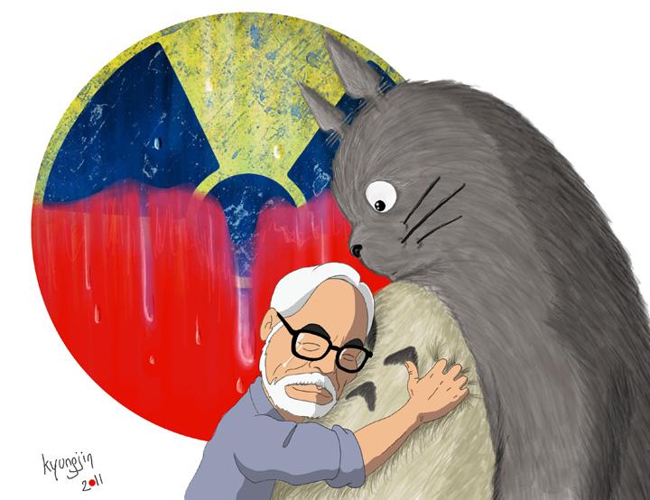 Hayao Miyazaki caricature Totoro